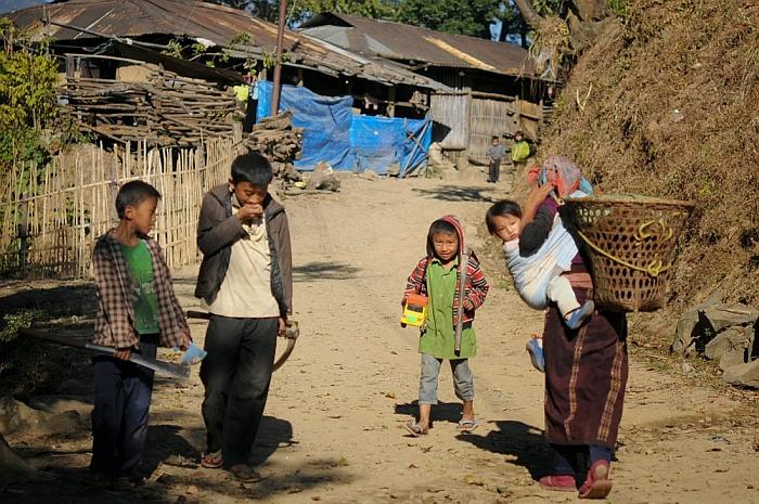 Inhabitants in a Naga village